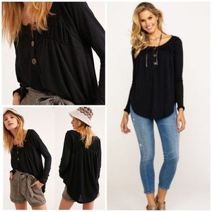 Free People Henley Knit Top Black Buttons XS NWT